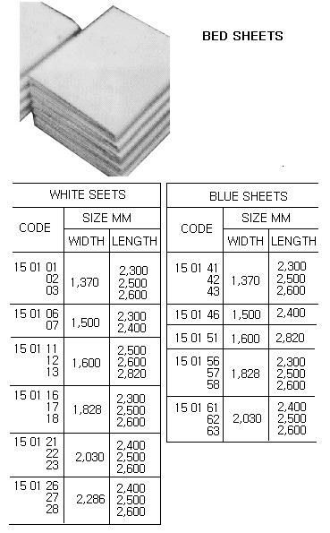 Cloth / Linen Products  150102  SHEET, ALL COTTON, WHITE, 1370 x 2500 MM