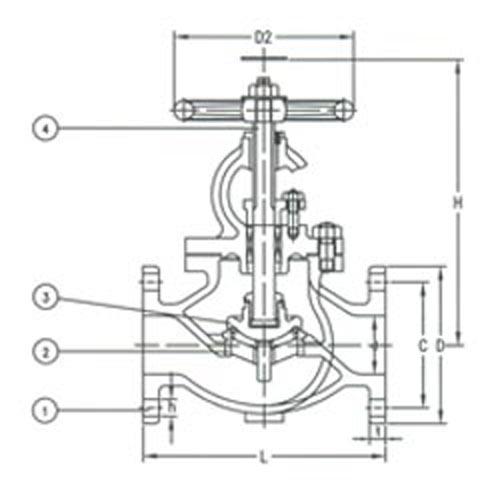 JIS Gemi Vanalarý  F7319  10K Cast Steel Globe Valve